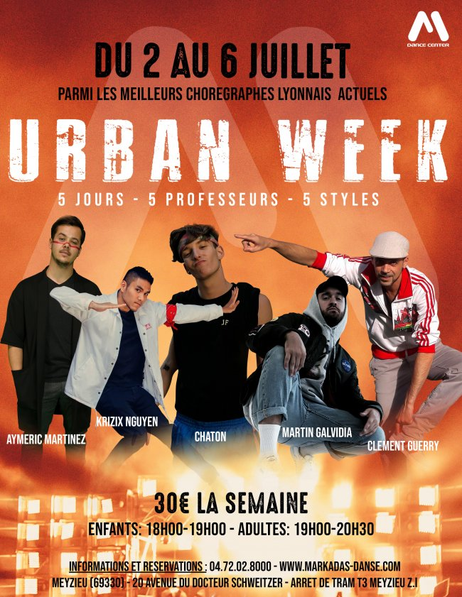 Flyer URBAN WEEK - Stages Intensifs HIP HOP / NEW STYLE / LOCK
